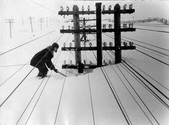 Телеграфные линии, занесенные снегом