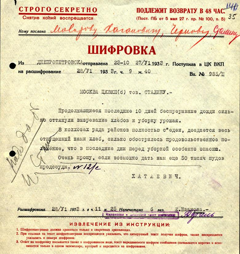 Шифротелеграмма Сталину о продовольственном положении