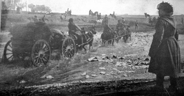 Русские войска отступают от Мукдена (Русско-японская война)