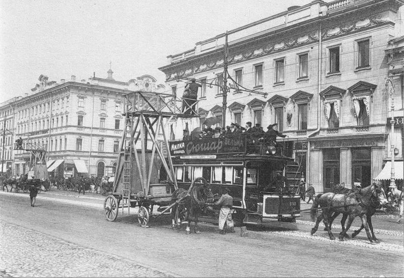 Укрепление электропроводов для трамвайного движения
