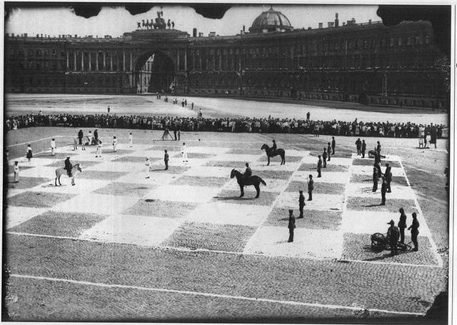 Шахматная партия между Красной Армией (чёрные) и Красным флотом (белые)