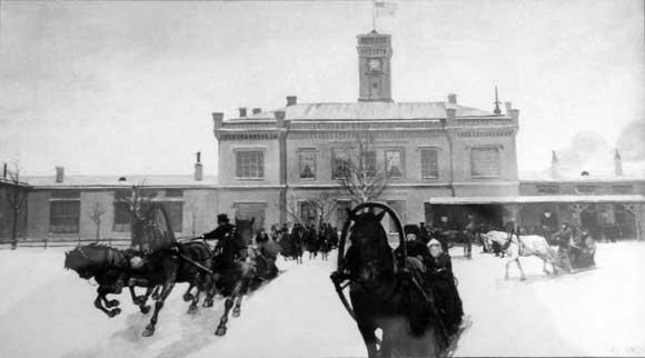 Развозка пассажиров на вокзале в Царском Селе