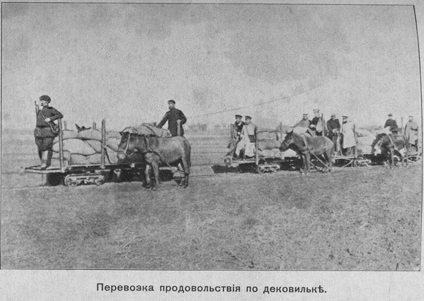 Перевозка продовольствия по переносной железной дороге